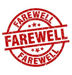 Farewell round red grunge stamp vector