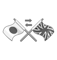 Flag of united kingdom and japan icon vector