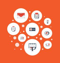 Flat icons television customer summary laptop vector