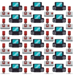 Gamepad joystick collection seamless pattern vector