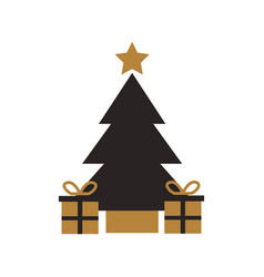 gold and black tree pine gift boxes star christmas vector image