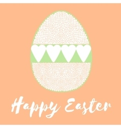 Happy easter poster egg with hearts vector image vector image