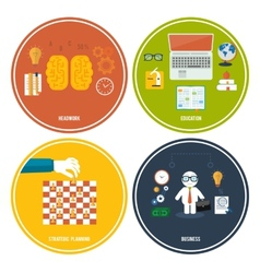 Icons for education headwork strategy business vector image