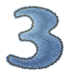 Jeans alphabet Denim number 3 vector image