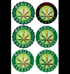 Medical Marijuana design leaf textured stamps vector image vector image
