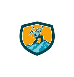 Mountain Climber Reaching Summit Retro Shield vector image
