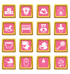newborn icons pink vector image