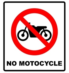 No motorcycle sign on white background vector image vector image