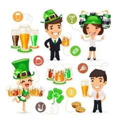 Office workers on the patricks day party vector