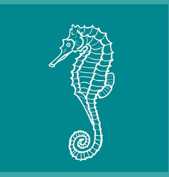 silhouette of seahorse hippocampus vector image vector image