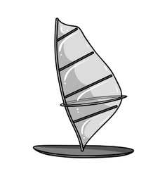 Windsurf board icon in monochrome style isolated vector
