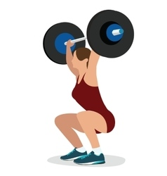 Woman female weight lifting training lift bar vector