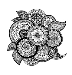 Zen-tangle floral pattern mehndi style vector