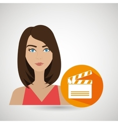 Woman movie video theater vector