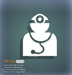 Doctor with stethoscope around his neck icon on vector