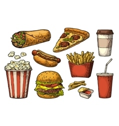 Set fast food cup cola coffee hamburger pizza vector