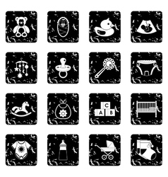 Child care icons set grunge style vector