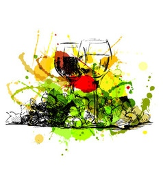 Colored hand sketch still life with glasses of vector