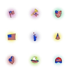 Independence of usa icons set pop-art style vector
