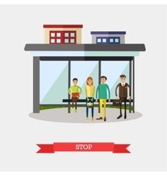Bus stop concept  flat design vector
