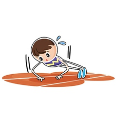 A boy performing push ups vector