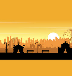 Flat amusement park at sunset scenery vector