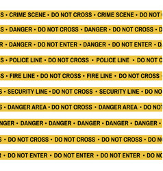 Set of crime scene yellow tape police line vector