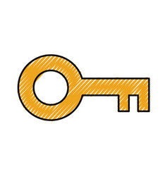 Antique key isolated icon vector