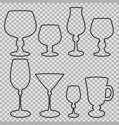Set of wine glasses balck silhouette vector