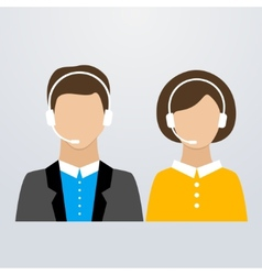 Call center male and female consultants vector