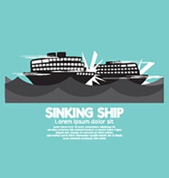 Sinking ships black graphic vector