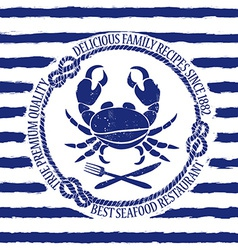Seafood restaurant emblem with crab vector