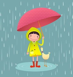 Cute girl and friends with red umbrella in rainy vector image