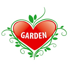 Logo red heart for the garden vector