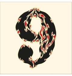 Fiery font number 9 on white vector