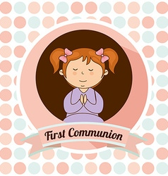 First communion card design vector