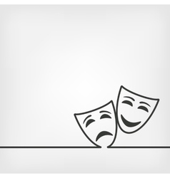 Comedy and tragedy masks white background vector