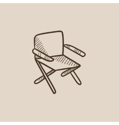 Folding chair sketch icon vector