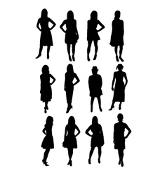 Beauty model silhouettes vector