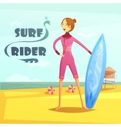 Surfing and surf rider retro cartoon vector