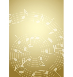 Bright music background with notes - golden vector
