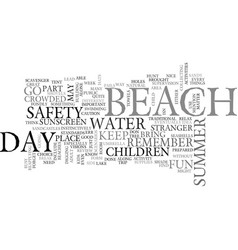 a day at the beach text word cloud concept vector image vector image