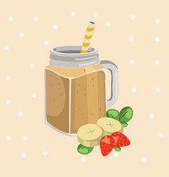 Banana smoothie fresh drink retro style vector