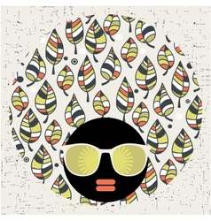 Black head woman with strange pattern hair vector image vector image