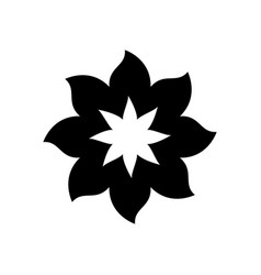 Black silhouette with flower of eight petals vector