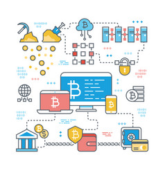 Blockchain and internet cryptocurrency transaction vector