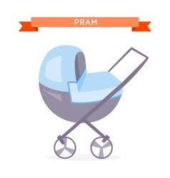 Blue baby carriage vector