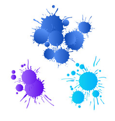 Blue navy purple watercolor paint drops vector