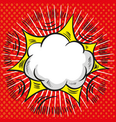 comic speech cloud with red explosion and rays on vector image vector image