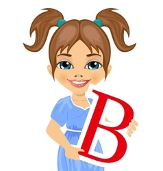 cute little girl holding the b letter vector image